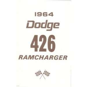 1964 DODGE 426 RAMCHARGER Owners Manual User Guide
