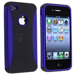 Blue/Black Hybrid Gel TPU Rubber Soft Skin Cover Case for iPhone 4 G
