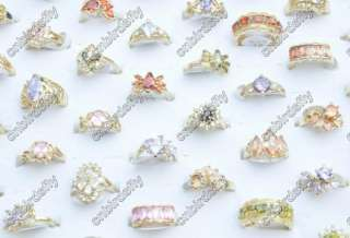 Wholesale lots 25 High quality CZ gold p Rings jewelry