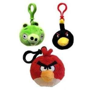 Angry Birds Plush Keychain Backpack Clip (Red/Green/Black)  Toys