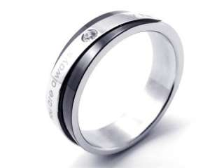 Men Women Black Silver Stainless Steel Love Ring Size 7