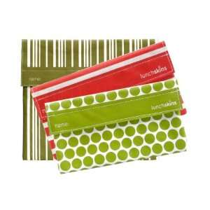 and Two Snack Bags (in Red Stripe & Green Polka Dot)
