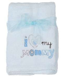 LOVE MY MOMMY Boys Girls BABY BLANKET Pink Blue