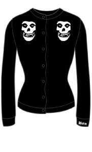SOURPUSS MISFITS BLACK CARDIGAN SWEATER PUNK S M L XL XXL