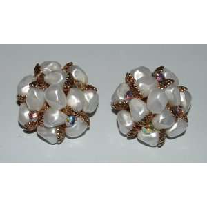 Clip On Earrings With Aurora Borealis Rhinestones
