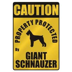 PROTECTED BY GIANT SCHNAUZER  PARKING SIGN DOG