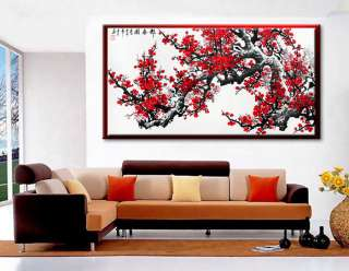 48 Feng Shui Red Cherry Blossom Handmade Modern Asian Art Watercolor