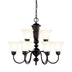 Transitional 9 light Oil Rubbed Bronze Chandelier