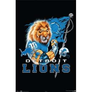 Detroit Lions Poster 22.5X34 Nfl Cartoon Lion 4109