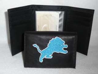 DETROIT LIONS Embroidered Leather TriFold WALLET New