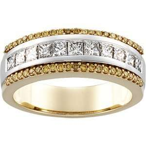 01.00 CT TW 14K White/Yellow Gold Two Tone Bridal Anniversary Band