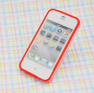 Color Clear Bumper Frame TPU Silicone Case for iPhone 4S CDMA 4G W