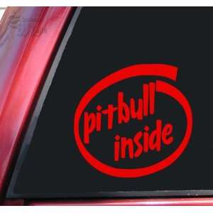 Pit Bull / Pitbull Inside Vinyl Decal Sticker   Red Automotive