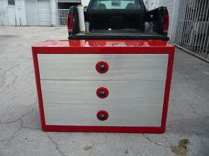 LONG RED LACQUER ART DECO CHEST W SILVER LEAF DRAWERS