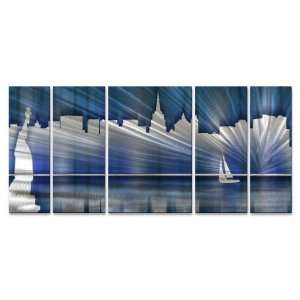 Cool New York City Skyline Metal Wall Art Hand sanded Wall Decor