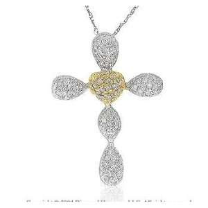 14k Two Tone Gold .35 Carat Pave Diamond Cross Pendant Jewelry