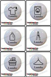 Laundry Theme Ceramic Knobs Pull Kitchen Drawer Cabinet Bar Closet 611