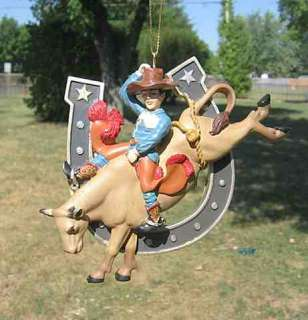 NEW* WESTERN BULL RIDER HORSESHOE Xmas Ornament NICE