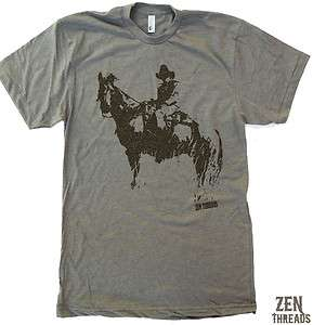 Mens COWBOY & HORSE screen printed american apparel t shirt tee S M L