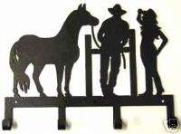 HORSE COWBOY COWGIRL KEY HOLDER WESTERN METAL ART DECOR