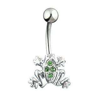 Green Gem Frog 14 Gauge Navel Belly Ring