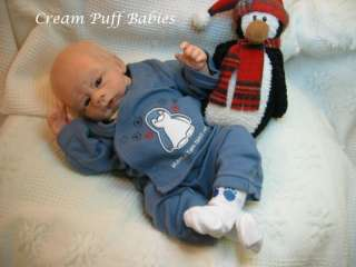 REBORN NEWBORN BABY BOY DOLL BY JACQUELINE GWIN & CREAM PUFF BABIES