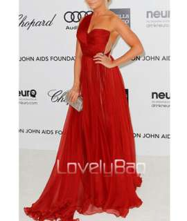 2012 Red Ruched Chiffon Empire Tunic Slim Fit Prom Ball Gown Long