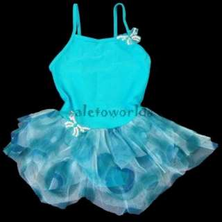 3Colour Girls Leotard Costume Ballet Tutu Dancewear Party Dress 3 8Y