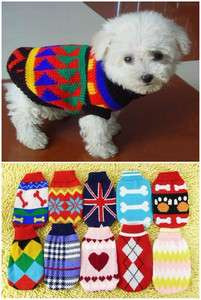 Cute Pet Cat Dog Puppy Sweater Knitwear Coat Apparel Clothes xs/s/m
