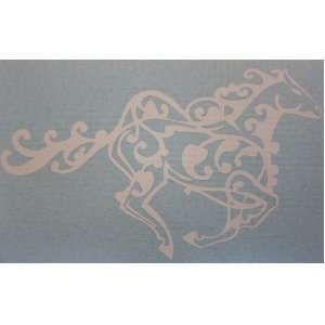 Small White Running Tribal Horse Car Window Sticker Decal