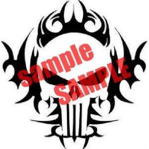 TRIBAL SKULL FLAME WHITE VINYL DECAL STICKER