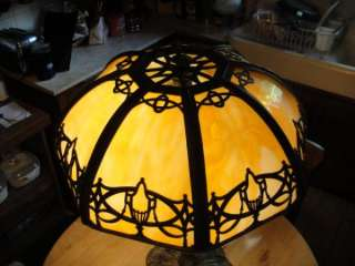 Arts & Crafts Bradley & Hubbard Leaded Slag Stained Glass Lamp