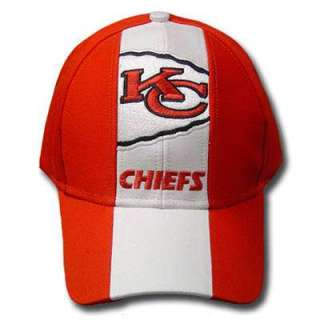 NFL KANSAS CITY CHIEFS COTTON VELCRO WHITE RED HAT CAP