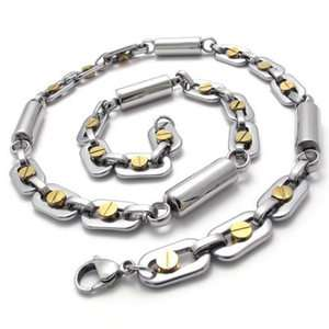 Mens Gold Silver Tone Stainless Steel Necklace Chain US120222