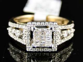 14K LADIES WOMENS YELLOW GOLD PRINCESS CUT DIAMOND ENGAGEMENT RING 1/2