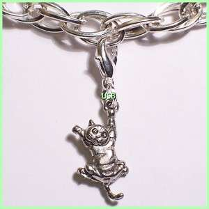 HANG IN THERE CAT CLIP ON Antique Pewter Cat Dog Pet Collar Tag Charms