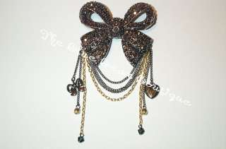 Betsey Johnson Large Bow Rhinestone Dangle Brooch Pin