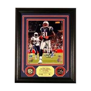 Randy Moss New England Patriots Signed Photomint w/ 2 24KT Gold Coins