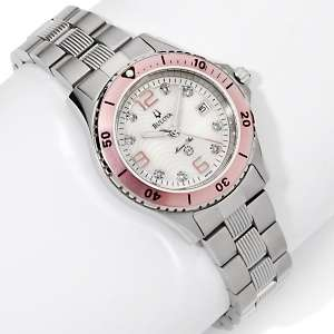 Marine Star Pink Bezel Stainless Steel Bracelet Watch