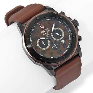 Bulova Mens Marine Star Brown Chronograph Rubber Strap Watch