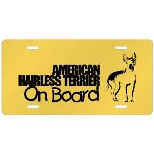 American Hairless Terrier On Board  License Plate Dog