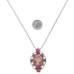 Fashion Jewelry ~ Pink Crystals Oval Cameo Necklace