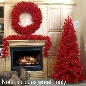 Ashley Spruce Artificial Christmas Wreath   Red Lights