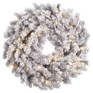 Pine Flocked Artificial Christmas Wreath Clear Lights
