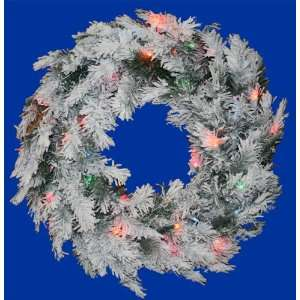 36 Pre Lit Flocked Alaskan Artificial Christmas Wreath   Multi Dura