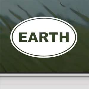 EARTH Euro Oval White Sticker Car Laptop Vinyl Window