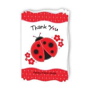 Modern Ladybug   Personalized Baby Thank You Cards With