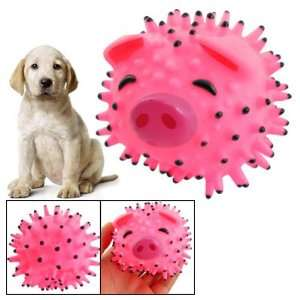 Black Vinyl Pig Spiky Ball Shape Pet Dog Squeaky Toy