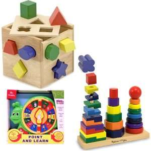 Melissa & Doug Shape Sorting Cube and Geometric Stacker