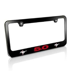 Ford Red Mustang 5.0 Black Metal License Plate Frame